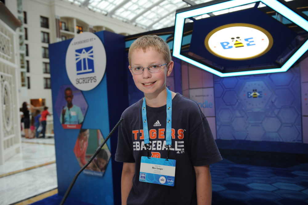 The Scripps National Spelling Bee contestant No. 165 Ben Lenger of Niwot. The 12-year-old is in seventh grade at Sunset Middle School in Longmont. (Mark Bowen/Scripps National Spelling Bee)