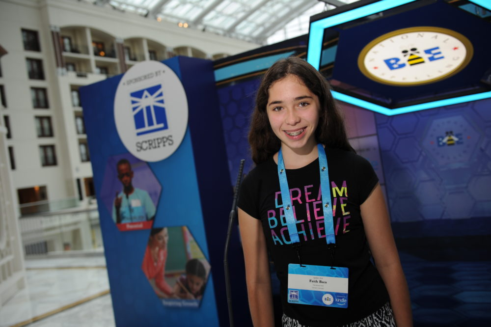 The Scripps National Spelling Bee contestant No. 204 Faith Christine Baca of Aurora. The 14-year-old is in eight grade at Rocky Mountain School of Expeditionary Learning in Denver. (Mark Bowen/Scripps National Spelling Bee)