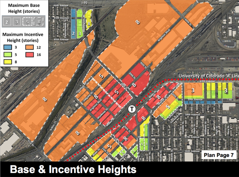38th and Blake Height Limits. Written numbers reflect the base height and the colors represent how high you can build if you include affordable housing. (Courtesy City of Denver)