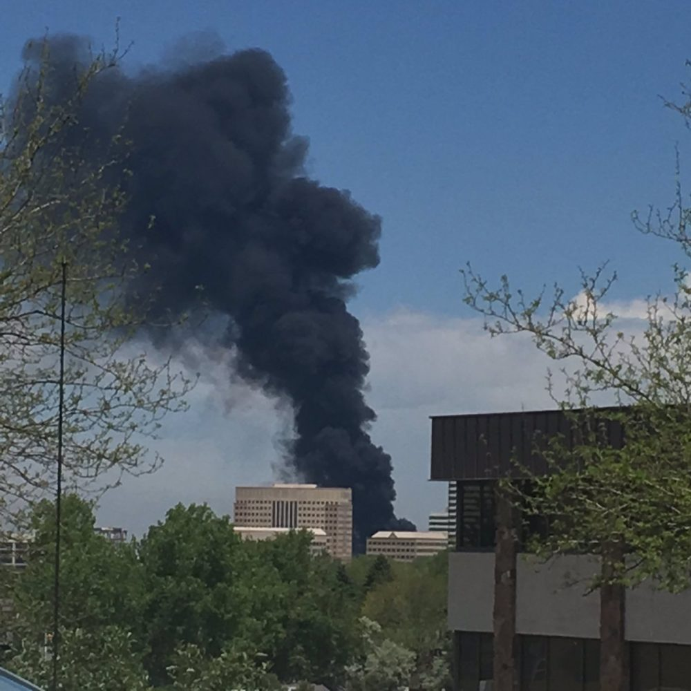 Smoke rises from a truck fire on Interstate 25. (South Metro Fire Rescue)