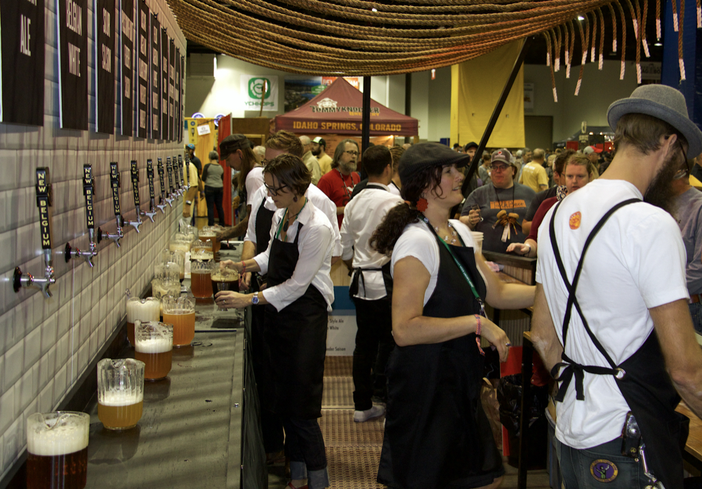 New Belgium Brewing Co.'s booth at 2007 Great American Beer Festival in Denver, Thursday, Oct. 5, 2017. (Paul Karolyi for Denverite)