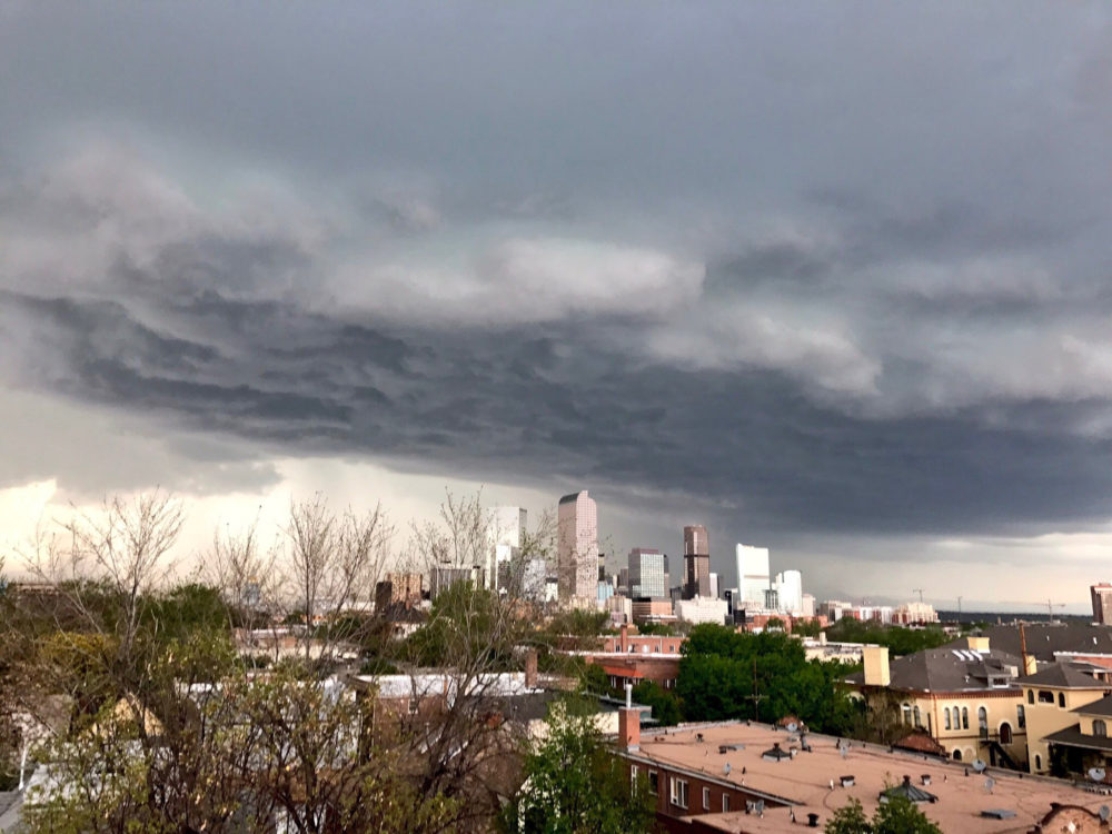 The incoming hail storm as seen from Cheesman Park. (Ashley Dean/Denverite)