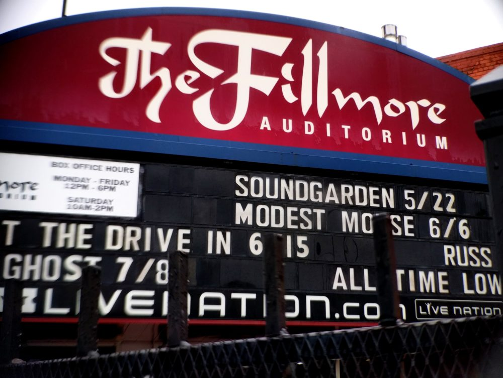 The Fillmore's marquee on the day after the death of Soundgarden's Chris Cornell. (Kevin J. Beaty/Denverite)  colfax; north capitol hill; music;