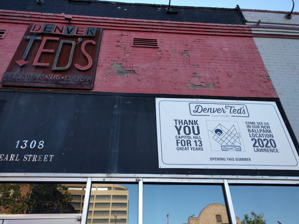 A sign outside Denver Ted's on May 24, 2017. (Kevin J. Beaty/Denverite)