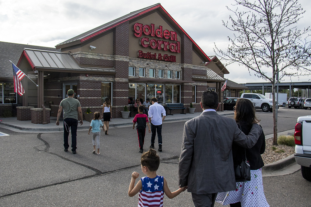 Isidro Quintana walks into Golden Corral in Centennial with his wife and grandson, a free man, May 15, 2017. (Kevin J. Beaty/Denverite)  kevinjbeaty; denverite; colorado; isidro quintana; GEO; immigration; deportation;