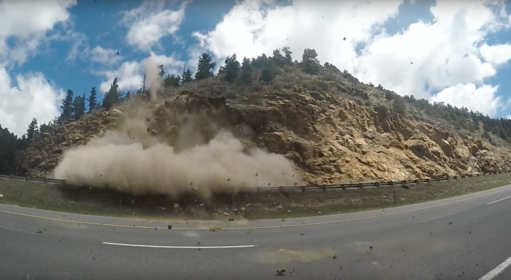 CDOT blasts rocks in Dumont, CO. (CDOT)
