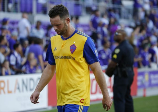 Bobby Burling walks off the pitch after Colorado's 2-0 loss to Orlando City on Saturday. (Kim Klement/USA Today Sports)