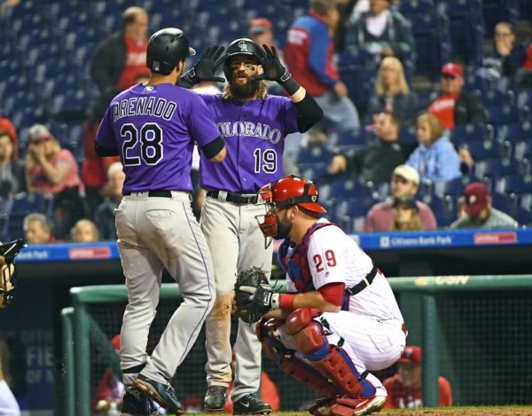 Nolan Arenado, Charlie Blackmon and the Rockies got their 16th road win of the season Tuesday. (Eric Hartline/USA Today Sports)