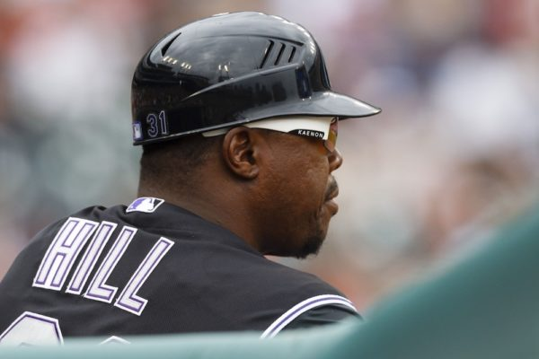 Glenallen Hill, pictured here when he was the Rockies first base coach, is not afraid of spiders. He can prove it. (Rick Osentoski/USA Today Sports)
