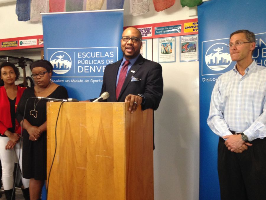 Allen Smith of DPS's Culture, Equity and Leadership Team talks about the formation of the task force at a press conference last year. (Melanie Asmar/Chalkbeat)