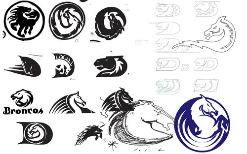 Sketches from the design process of the Denver Broncos logo. (Courtesy Rick Bakas)