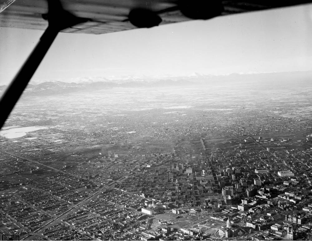 An aerial view of Denver circa 1945 shows the Colorado State Capitol at bottom. (Harry Mellon Rhoads/Western History & Genealogy Dept./Denver Public Library)