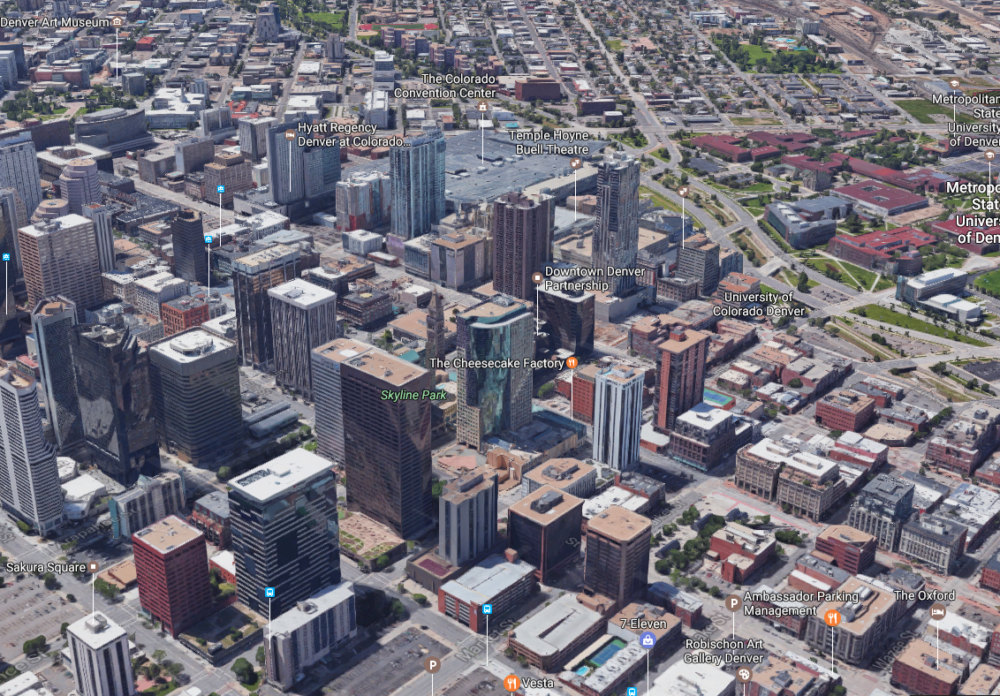 A Google Maps aerial rendering of the Skyline renewal area. (Google Maps)