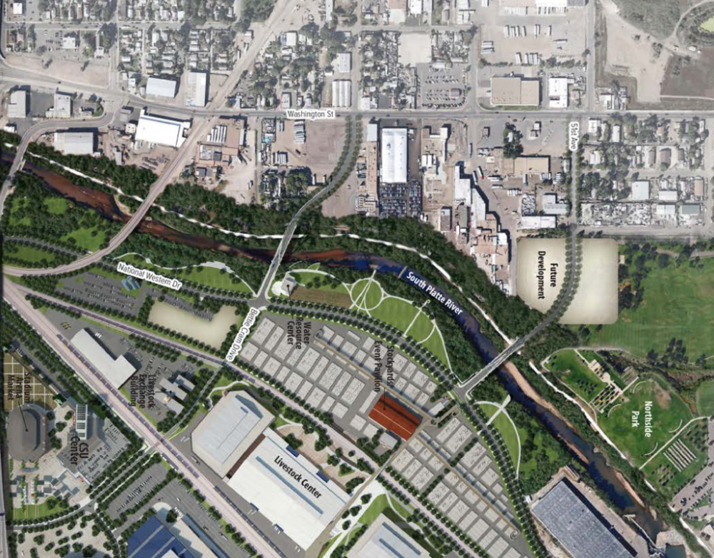 A rendering of a reopened South Platte riverfront from the National Western Center master plan. (City of Denver)