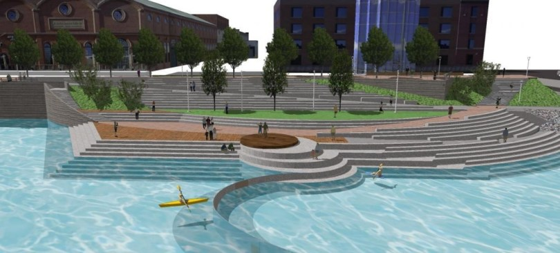 A rendering of the plan for Shoemaker Plaza in Confluence Park. The dam-like structure in the foreground is not part of the immediate plans. (City of Denver)
