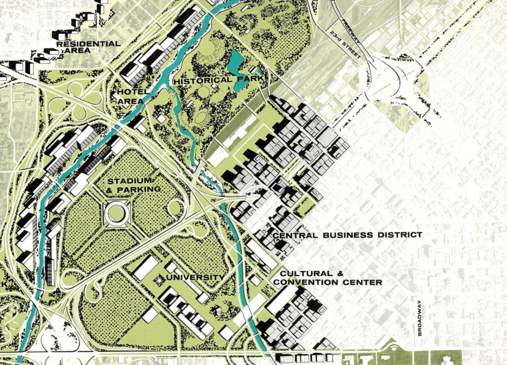 Never-completed plans for the Skyline Freeway through downtown Denver. (Courtesy Historic Denver)