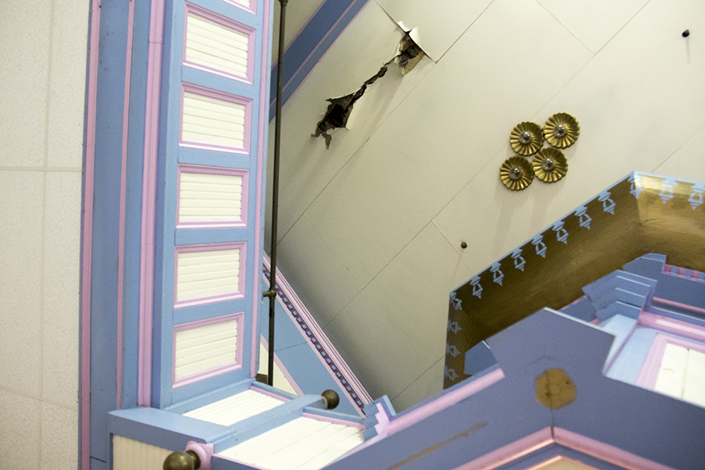 A hole in the ceiling of the Historic Elitch Theatre, West Highland, June 3, 2017. (Kevin J. Beaty/Denverite)  historic elitch theatre; west highland; kevinjbeaty; denver; theater; colorado; denverite;