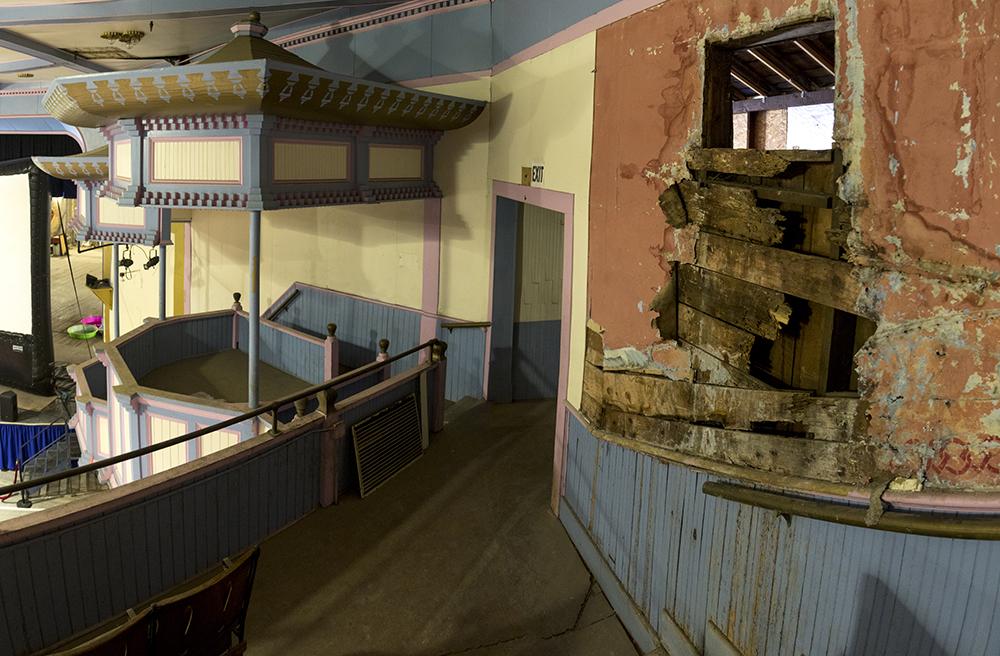 A gaping hole inside the Historic Elitch Theatre, West Highland, June 3, 2017. (Kevin J. Beaty/Denverite)  historic elitch theatre; west highland; kevinjbeaty; denver; theater; colorado; denverite;
