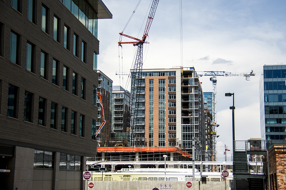 Construction by Union Station. (Kevin J. Beaty/Denverite)  development; residential real estate; denver; denverite; colorado; kevinjbeaty