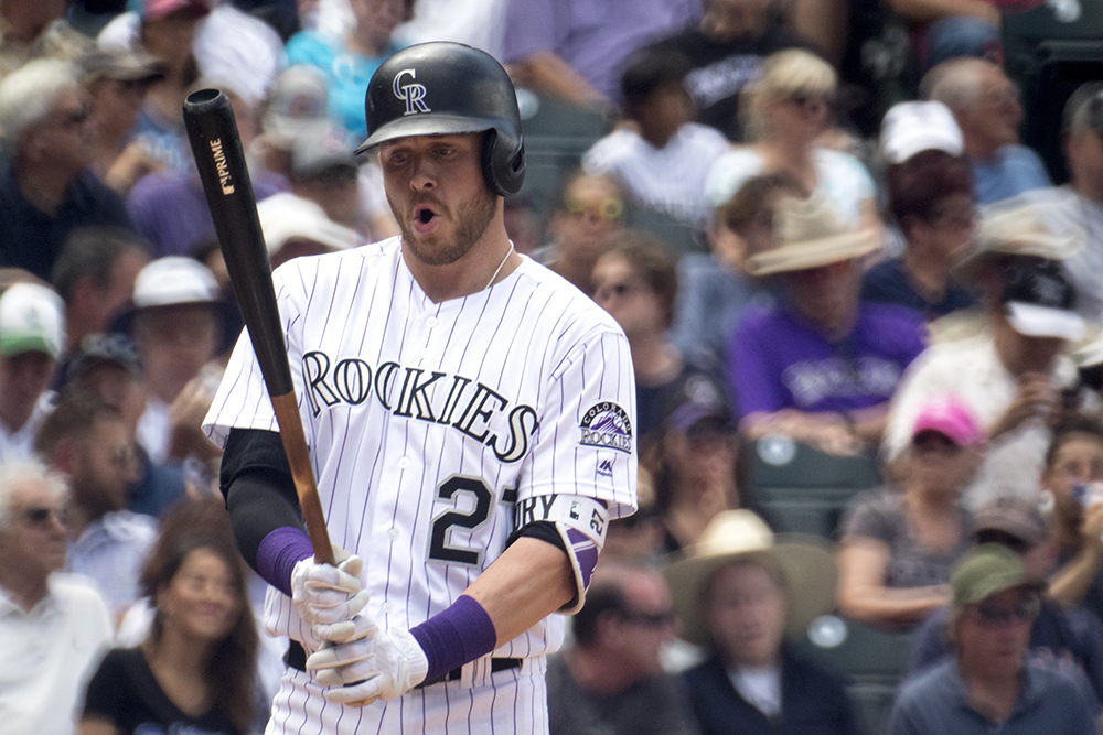 Trevor Story. Colorado Rockies vs the Cleveland Indians, June 7, 2017. (Kevin J. Beaty/Denverite)  colorado rockies; denver; sports; baseball; coors field; kevinjbeaty; denverite; colorado;