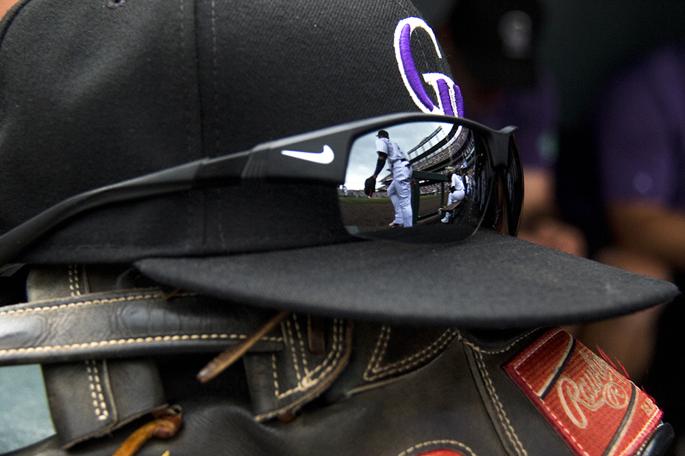 Charlie Blackmon's stuff in the dugout. Colorado Rockies vs the Cleveland Indians, June 7, 2017. (Kevin J. Beaty/Denverite)  colorado rockies; denver; sports; baseball; coors field; kevinjbeaty; denverite; colorado;