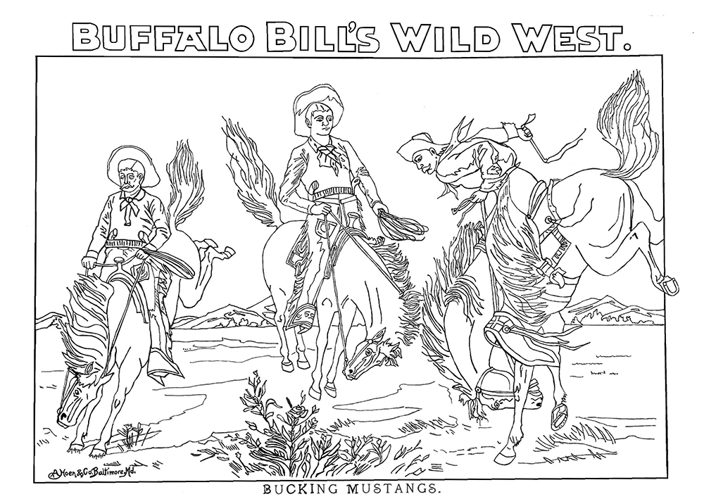 """""""'Bucking Mustangs'. The number of injuries suffered by Cody's Wild West show performers is unknown. However, the pay was good and the cowhands and Native Americans in his show went from the Great Plains to performing in front of the crowned heads of Europe."""" (Courtesy)"""