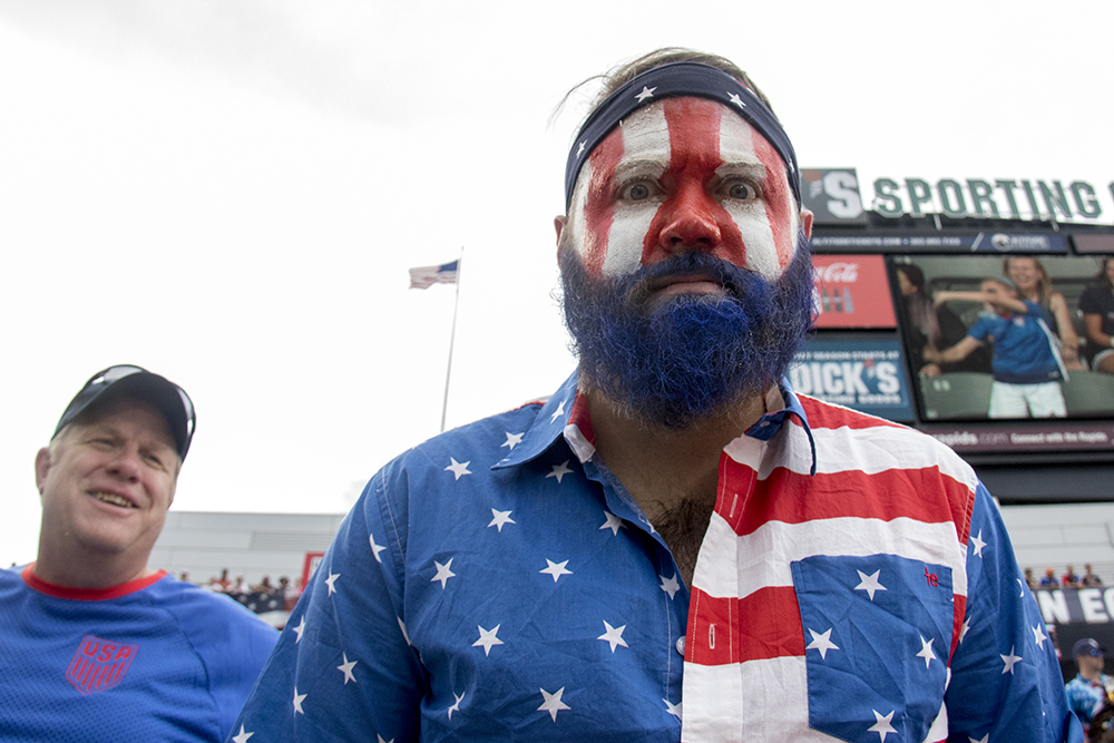 Lafayette resident Nicholas Colgin sports a blue beard. The U.S. men's national soccer team vs Trinidad and Tobago, Dick's Sporting Goods Park, June 8, 2017. (Kevin J. Beaty/Denverite)
