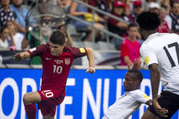 Christian Pulisic dashes after the ball. The U.S. men's national soccer team vs Trinidad and Tobago, Dick's Sporting Goods Park, June 8, 2017. (Kevin J. Beaty/Denverite)