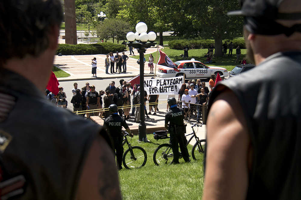 Bikers against radical Islam A rally against Sharia law atop the Capitol steps, June 10, 2017. (Kevin J. Beaty/Denverite)  copolitics; rally; protest; sharia law; islamophobia; kevinjbeaty; denver; colorado; denverite;