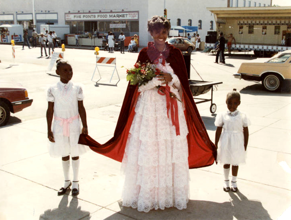 Color photograph of Miss Juneteenth with two young girl attendants, Five Points, 1989. (Denver Public Library/Western History Collection/ARL47)  juneteenth; five points; archive; denver public library; denver; colorado; history;
