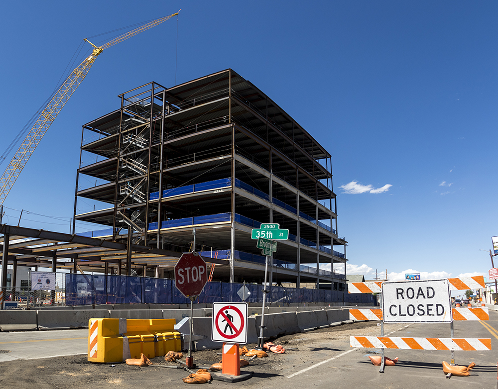 Construction on Brighton Boulevard, Five Points, June 14, 2017. (Kevin J. Beaty/Denverite)  Giambrocco; rino; five points; development; commercial real estate; construction; kevinjbeaty; denver; colorado; denverite;