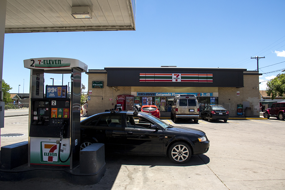 The 7-Eleven near the National Western Complex, Elyria Swansea, June 14, 2017. (Kevin J. Beaty/Denverite)  national western complex; elyria swansea; development; kevinjbeaty; denver; denverite; colorado;