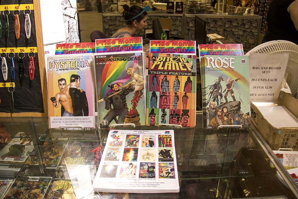 Pride-themed comics at Mile High Comics, June 15, 2017. (Kevin J. Beaty/Denverite)  mile high comics; sunnyside; denver; colorado; kevinjbeaty; denver; denverite;