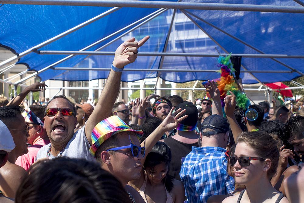 Midday dancing at denver PrideFest, June 18, 2017. (Kevin J. Beaty/Denverite)pride; lgbtq; kevinjbeaty; denver; denverite; colorado; civic center park;