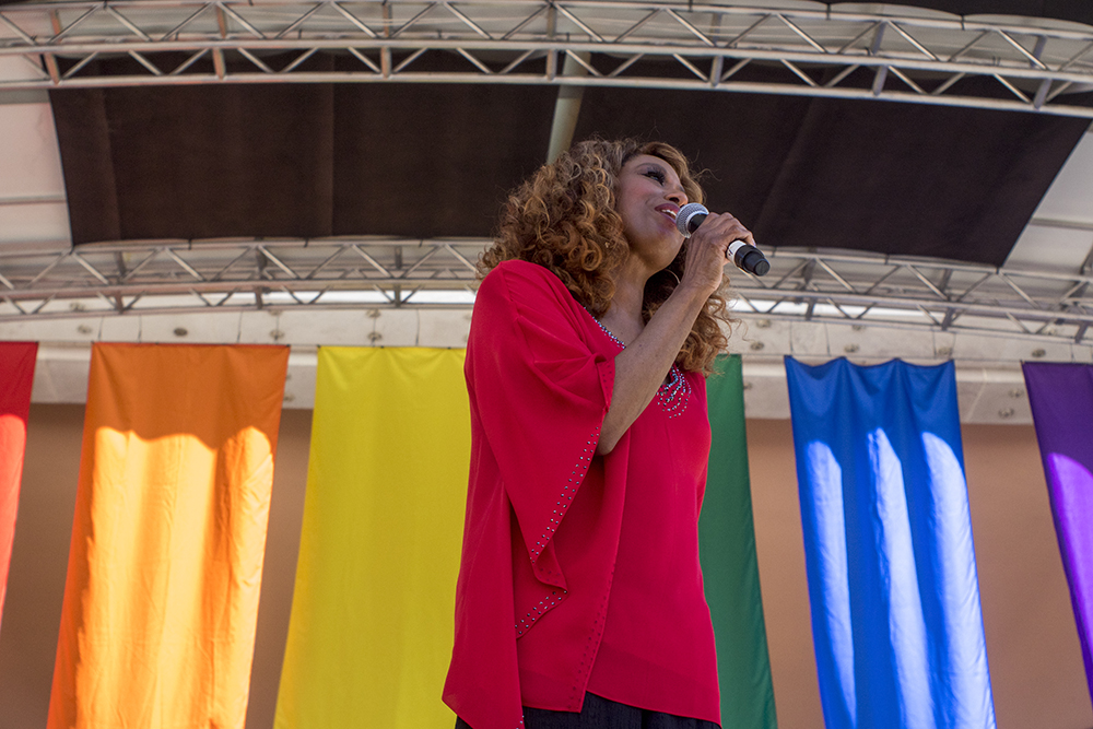 """Jennifer Holliday, of """"Dreamgirls,"""" performs on the main stage. Denver PrideFest, June 18, 2017. (Kevin J. Beaty/Denverite)  pride; lgbtq; kevinjbeaty; denver; denverite; colorado; civic center park;"""