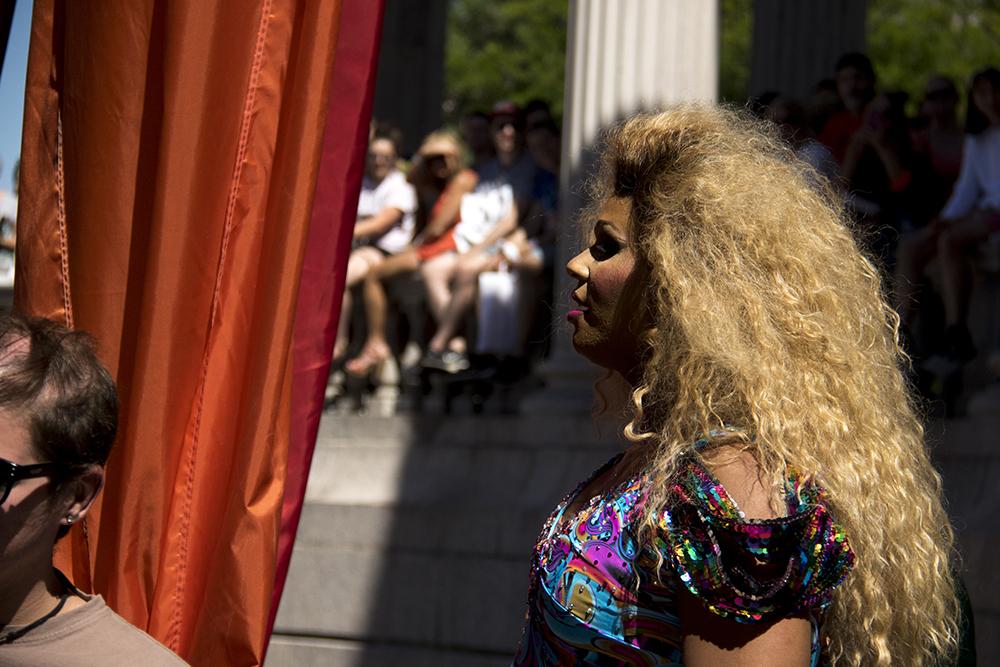 Roux Paul's Drag Race contestant, Peppermint, performs on the main stage. Denver PrideFest, June 18, 2017. (Kevin J. Beaty/Denverite)  pride; lgbtq; kevinjbeaty; denver; denverite; colorado; civic center park;