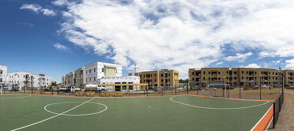 Thriftway Pocket Park, nestled inside the future Del Corazon development on Morrison Road in Westwood. (Kevin J. Beaty/Denverite)  construction; driftwood pocket park; westwood; development; denver; colorado; denverite; kevinjbeaty