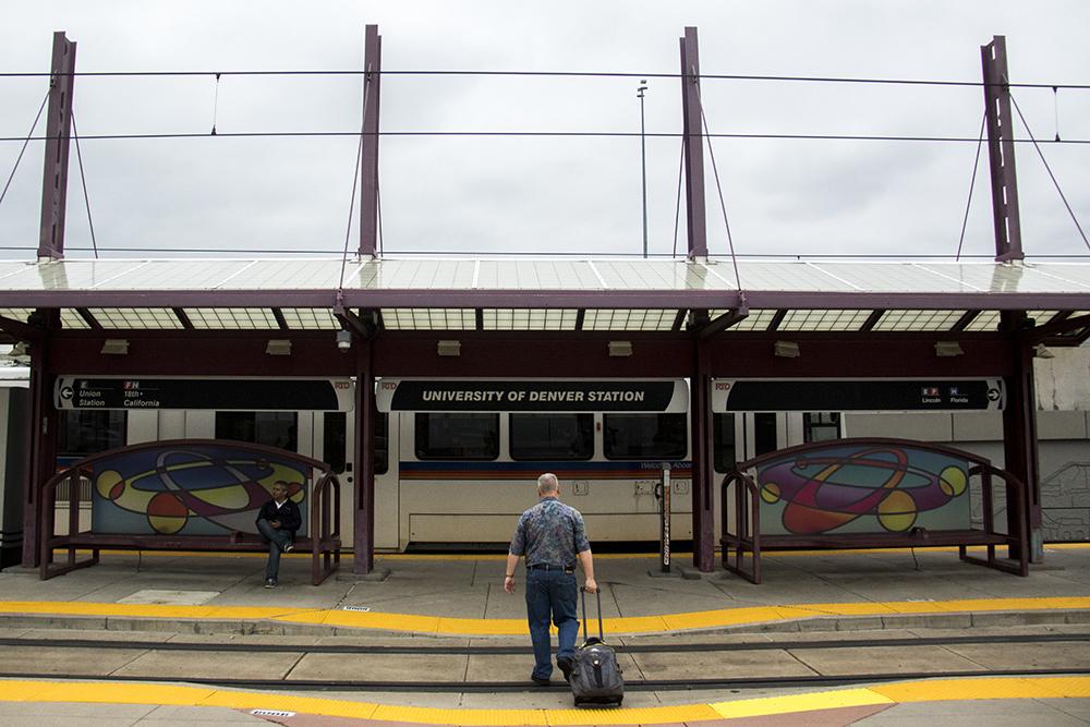 The RTD University of Denver Station in the University neighborhood. (Kevin J. Beaty/Denverite)  denver; colorado; univeristy; rtd; light rail; kevinjbeaty; denverite;