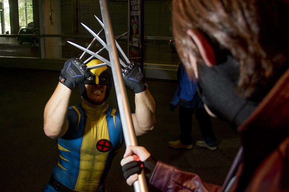 Frank Lauters as Wolverine battles Gambit. Denver Comic Con 2017. (Kevin J. Beaty/Denverite)  comic con; cosplay; kevinjbeaty; denver; denverite; colorado;