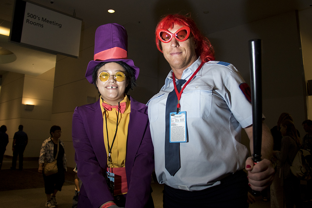 Jesse (left) and Mark Baier as the warden and Alice from Superjail. Denver Comic Con 2017. (Kevin J. Beaty/Denverite)comic con; cosplay; kevinjbeaty; denver; denverite; colorado;