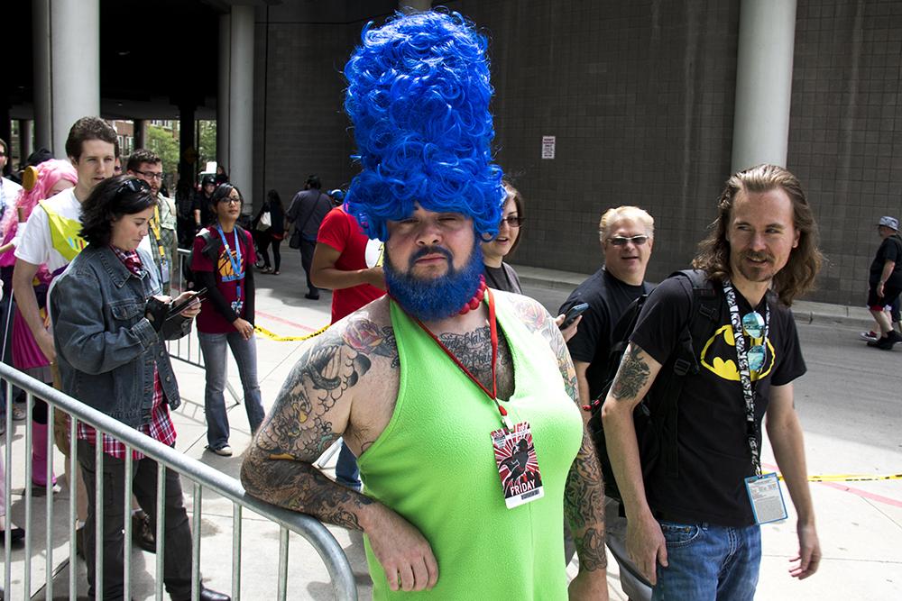 Jason Pratt as bearded Marge. Denver Comic Con 2017. (Kevin J. Beaty/Denverite)  comic con; cosplay; kevinjbeaty; denver; denverite; colorado;