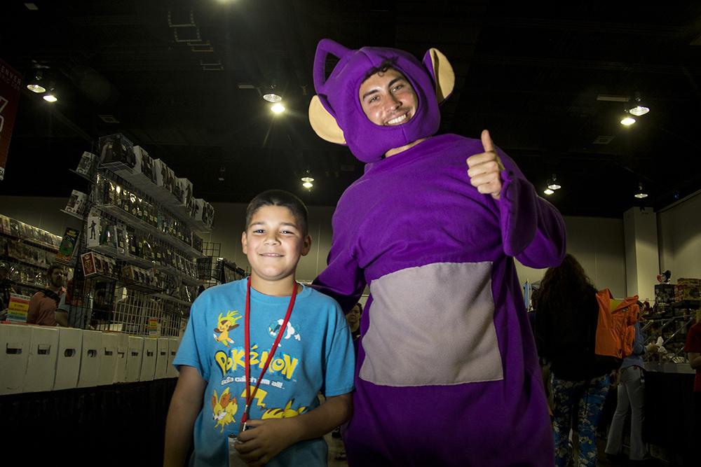 Zach Schiffel, the Teletubby, and his Boys and Girls Club mentee Xavier. Denver Comic Con 2017. (Kevin J. Beaty/Denverite)  comic con; cosplay; kevinjbeaty; denver; denverite; colorado;
