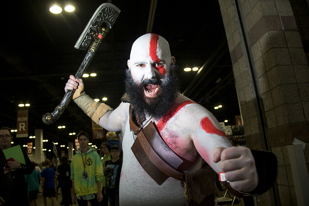 Ian Shaffer as Cratos from God of War. Denver Comic Con 2017. (Kevin J. Beaty/Denverite)  comic con; cosplay; kevinjbeaty; denver; denverite; colorado;