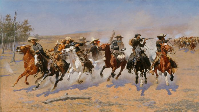 Frederic S. Remington (1861-1909); A Dash for the Timber; 1889; Oil on canvas; Amon Carter Museum of American Art, Fort Worth, Texas; 1961.381