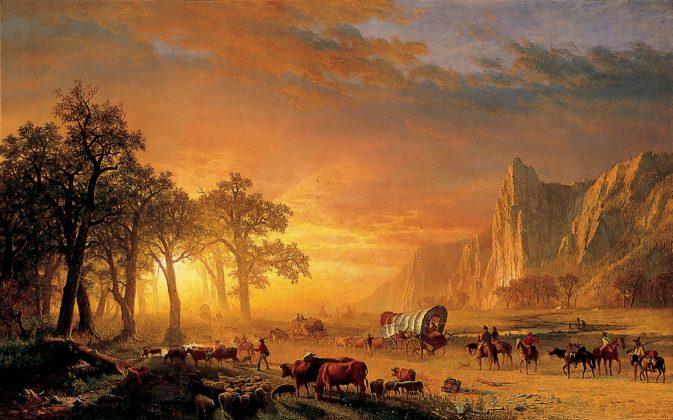 "Albert Bierstadt's 1867 oil painting ""Emigrants Crossing the Plains."""