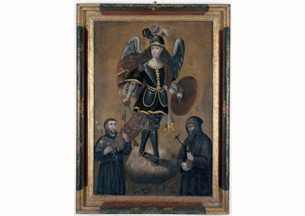 Painter from El Tocuyo, Saint Michael the Archangel with Saint Francis Xavier and Francis of Assisi (1682). Oil and tempera on canvas. 86.4 x 59.1cm. Denver Art Museum. Promised gift of Patricia Phelps de Cisneros in honor of Carlos Duarte (Courtesy of Colección Cisneros)