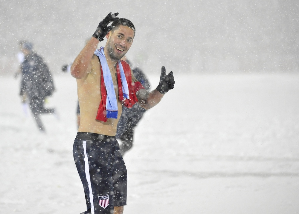 Clint Dempsey celebrated the win without a shirt. (Ron Chenoy/USA Today Sports)