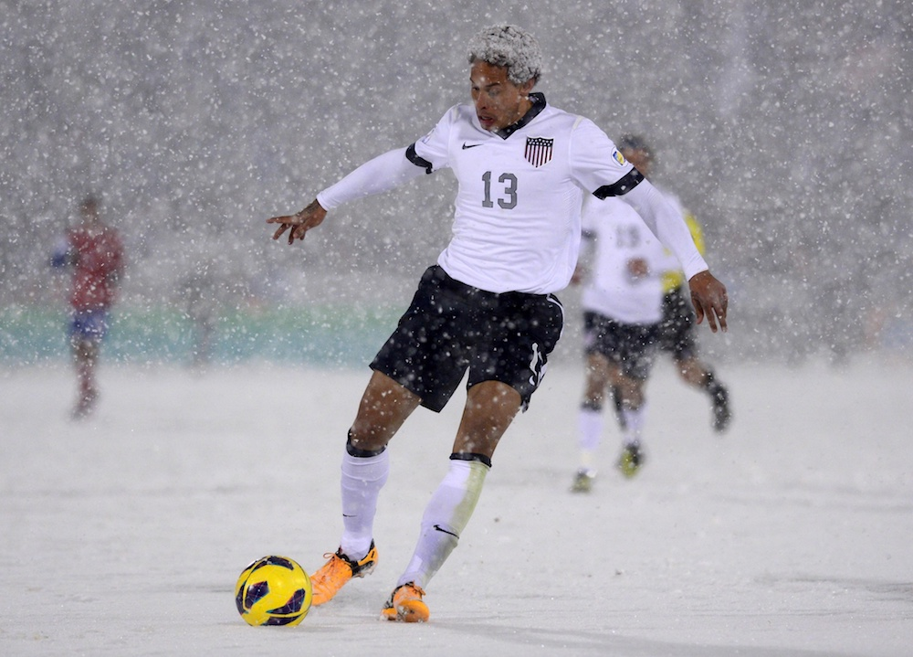 Jermaine Jones and his snow-fro. (Ron Chenoy/USA Today Sports)