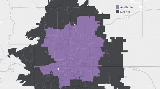 Amazon Prime Now coverage area in Denver.