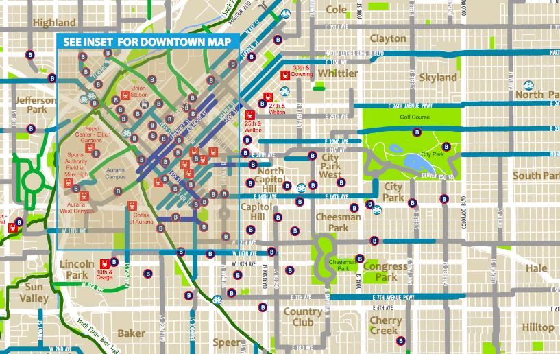 A section of the 2017 Denver Bike Map. (City of Denver)